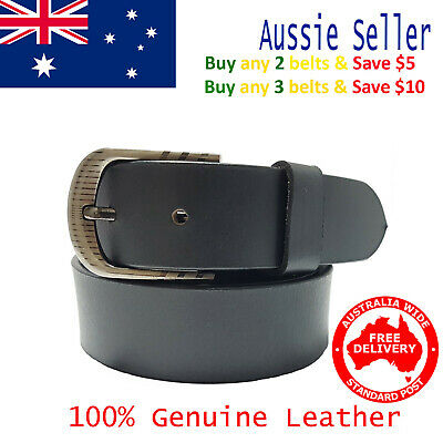 New 35mm Genuine Cowhide Premium Quality Leather Plain Black Men's Pants Belt