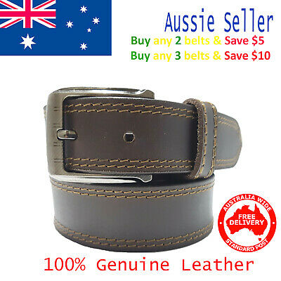 New 35mm Genuine Cowhide Premium Quality Double Stitched Leather Brown Mens Belt