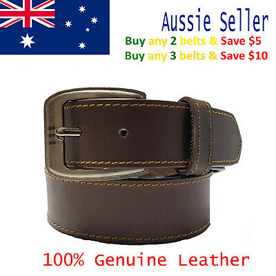 New 39mm Genuine Cowhide Premium Quality Single Stitched Leather Brown Mens Belt