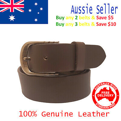 New 35mm Genuine Cowhide Premium Quality Leather Plain Brown Men's Pants Belt
