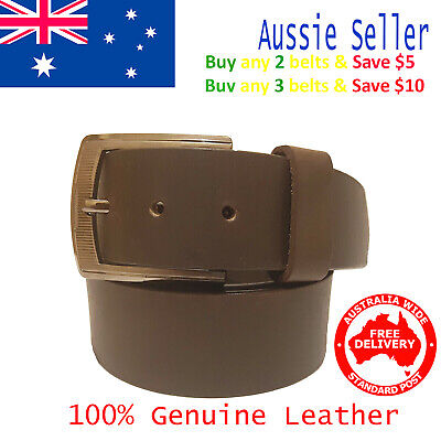 New 39mm Genuine Cowhide Premium Quality Leather Plain Brown Men's Jeans Belt