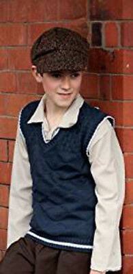 1940's-Wartime-Boys-Child's 1940's KNITTED TANK TOP & CAP - School Day Set