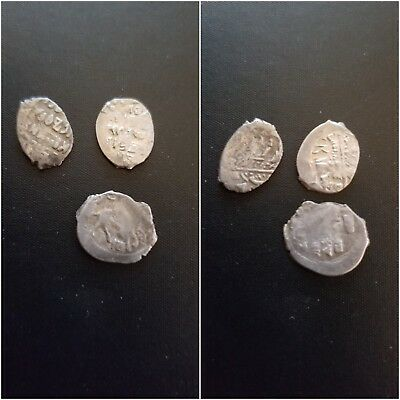 lot of 3 medieval silver wire coins Russian Empire  denga   12mm