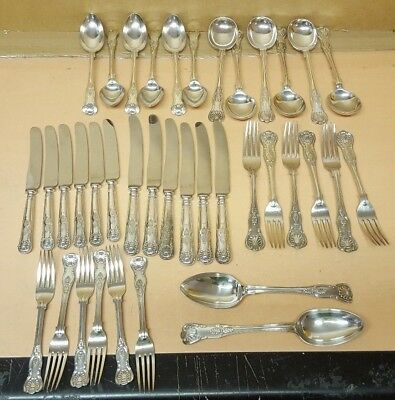 Large Collection Of Vintage Kings Pattern Cutlery A Few Makers Silver Plated