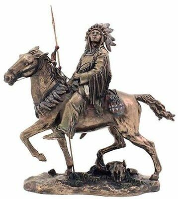 "Cheyenne Riding Horse Statue Native Figurine Warrior 9.5"" (3170)"