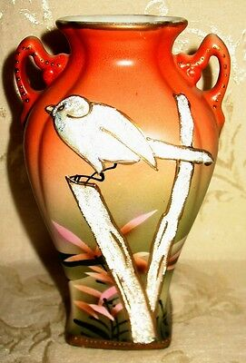 RARE Nippon Vase, Hand Painted, Scene with Bird done in Coralene?