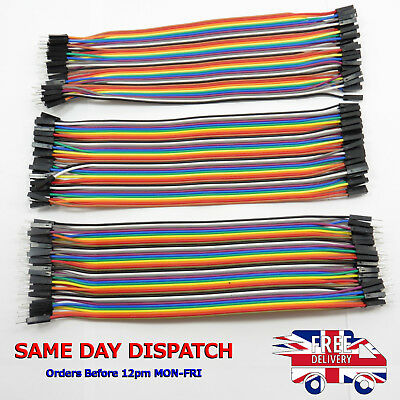 40pcs Dupont Cables Breadboard Jumper M-F M-M F-F Wire Ribbon Lead Arduino Jump