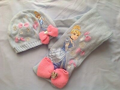 Disney Blue Cinderella Hat And Scarf Set - Size M/L