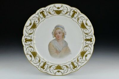 Early Sevres Porcelain Portrait Plate Hand Painted Signed E Sieffert de Sevres