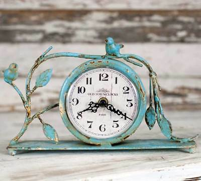 Weathered - Ionized Gray - Songbird Mantel, Tabletop Clock - SPECIAL SALE