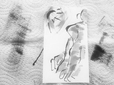 Nude Life Drawing Human Figure. Ink Paper 74x105mm. Not Print, Origonal Drawing