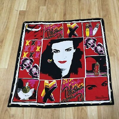 PALOMA PICASSO Parfums Red Printed Vintage Retro Smart Square Scarf Womens 41031