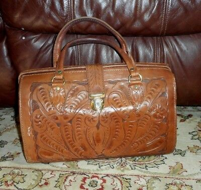 VINTAGE American West Genuine Leather Handbag Purse Made in Paraguay Hand Tooled