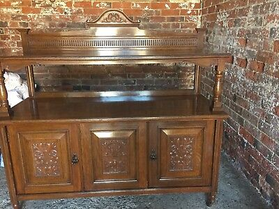 VICTORIAN CARVED oak buffet- the stop fluted back with arched pediment above the