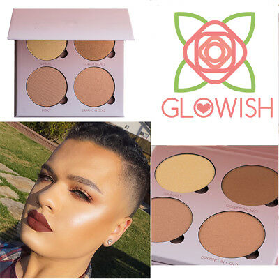 GLOWISH Professional Makeup 4 Shades Pigmented Bronzers Pink Gold Glow Palette