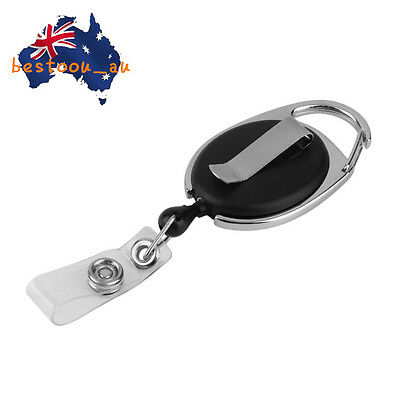Retractable Reel Pull Key ID Card Badge Tag Clip Holder Carabiner Style ES