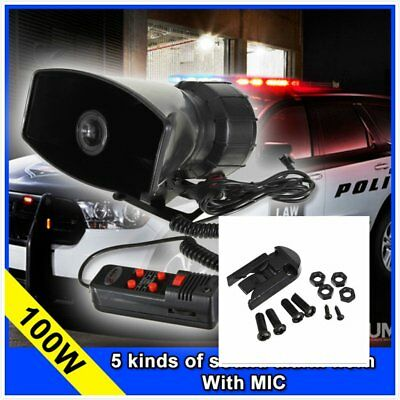 12V 5 Sound 100W Loud Car Warning Alarm Police Fire Siren Horn Loud Speaker MIC