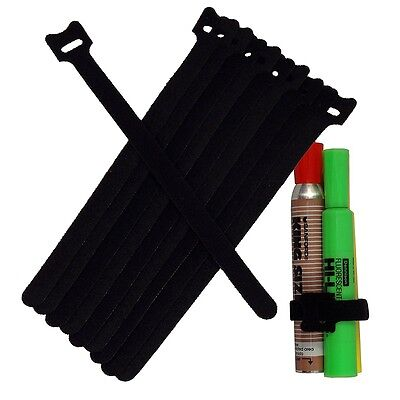 NEW 10PCS 20CM Cable Cord Ties Straps Wrap Hook And Loop Black Portable LK