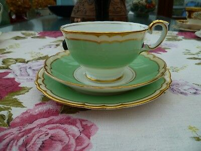 Lovely Vintage Crown Staffordshire China Trio Tea Cup Saucer Pastel Green