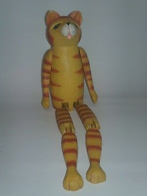 Primitive Folk Art Style Wood Toy Cat Decor from Indonesia