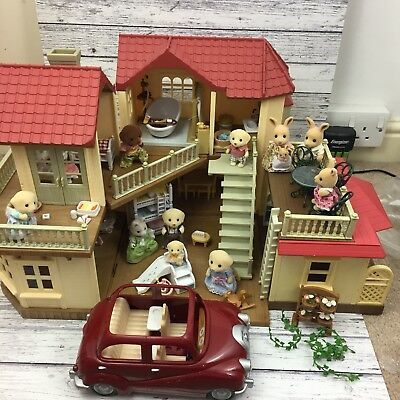 Sylvanian Families Beechwood Hall House Conservatory Car 11x Figure Bundle