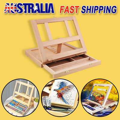 Portable Folding Table Easel Drawer Pine Wood Artist Painting Stand Craft Art AU