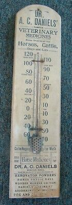 Antique Veterinary Dr A.c. Daniels Wooden Thermometer Boston Mass - Just Found