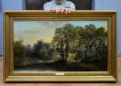 Fine Original Antique 19thC Victorian Oil Painting of English Cottage in Woods