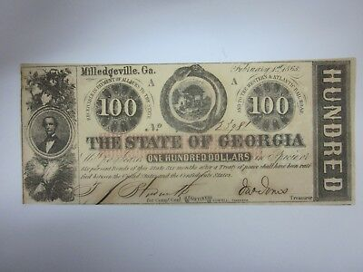 1863 $100 State of Georgia Milledgeville Crisp Uncirculated Treasury Seal CR6
