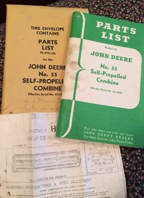 Vintage Original John Deere Parts List No. 55 Combine PL-H13-152 55-17838