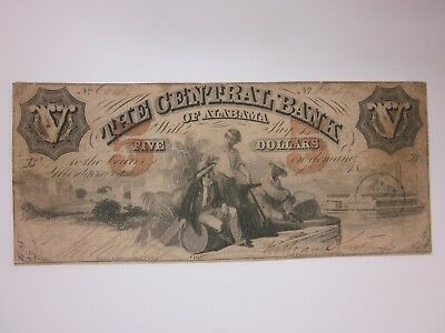 1855 $5 The Central Bank of Alabama R231-10 Five Dollars