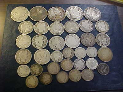 Barber Half Dollar, Quarter & Dime Mixed Lot $7.95  Face 36 Coins Nice  Barbers