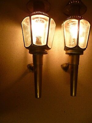 An Antique Pair Of French, Large Brass And Cut Glass, Electrified Coach Lamps