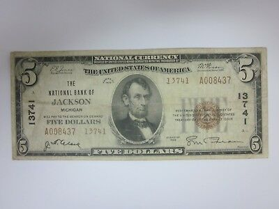 1929 $5 The National Bank of Jackson Michigan Charter 13741 MI