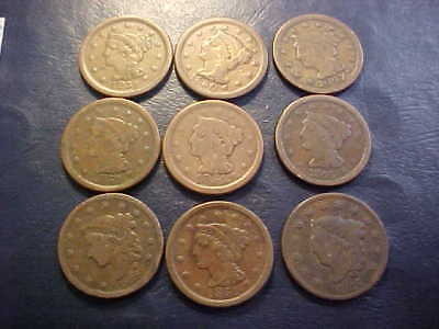 Nine Braided Hair & Coronet Large Cents All Good - Very Fine Nice Coins Lot