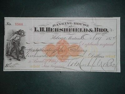 Banking House of L.H. Hershfield & Bro. Oct. 19, 1874. Helena, Mt. RN-D9. GOLD