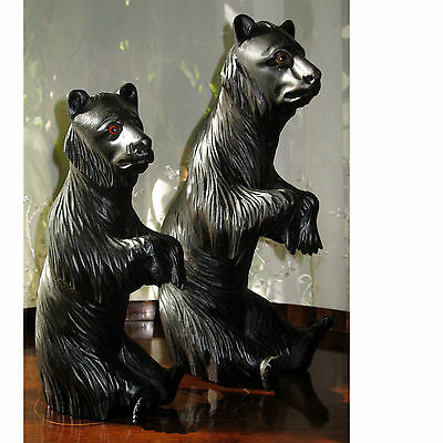 Antique : large and fine pair of good 19th century Black Forest Bears glass eyes