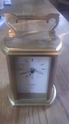 e a combs solid brass mantle clock quartz made in w Germany carriage clock