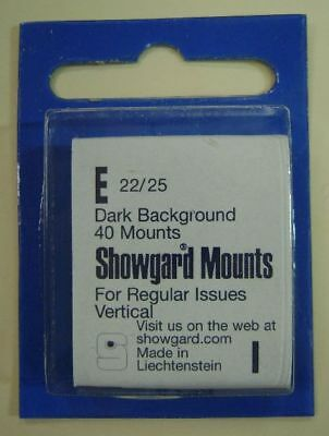 Showgard size E22/25 black hingeless stamp mount NEW unopened pack 1st quality