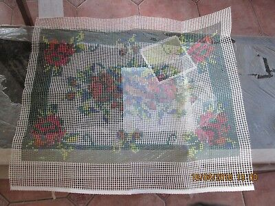latch hook rug kit. acrylic yarn.  flowered canvas, instructs and chart and hook
