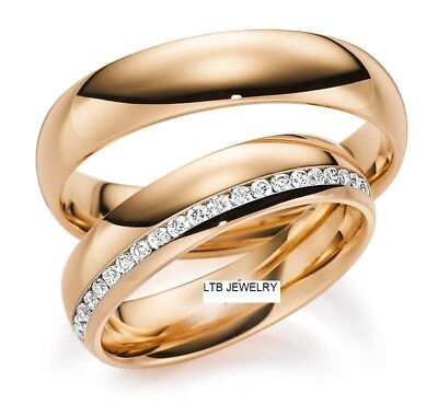 10K Solid Rose Gold  His & Hers Diamond Wedding Bands Rings Shiny Finish 5Mm