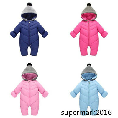 9e75baa9c TODDLER SOFT BABY Girl s Boy s Down Snow Suit One Piece Size 6 12 18 ...