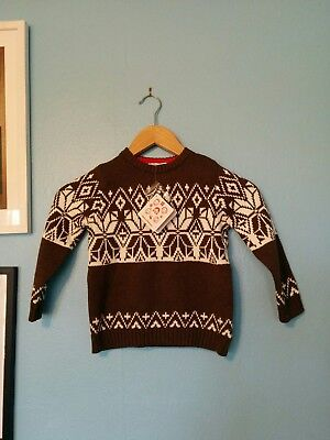Hanna Andersson Boys Sz 100 Brown Cotton Nordic Design Sweater NWT