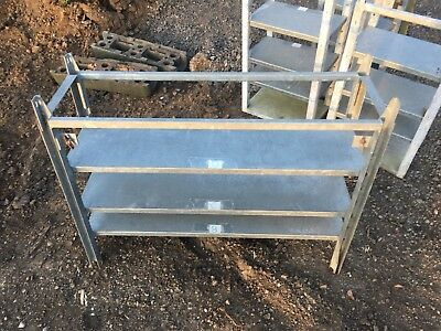 Steel galvanised racking units, two sizes Shelving, heavy duty. Ex military.