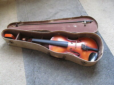 """Antique Violin Jan Kriml Hand Made In Germany  24"""" Long With Case & Bow"""