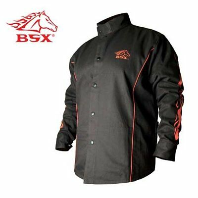 Bsx Flame-Resistant Welding Jacket - Black With Red Flames