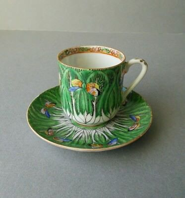 Chinese Porcelain Cabbage Leaves Cup & Saucer. Crack on the cup.
