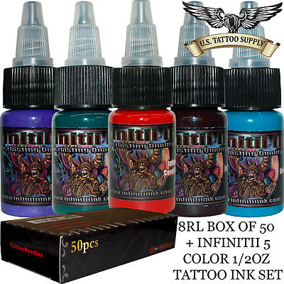 8 Round Liner Tattoo Needles + Infinitii Tattoo Ink 5 Color 1/2oz Ink Set