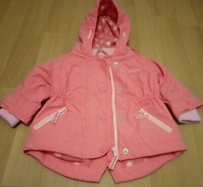 Next Baby Girls Pink Hooded Pink Jacket/Coat Age 3/6 Months