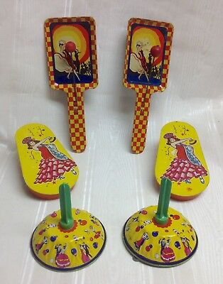 Lot/6-Vintage US Metal/Kirchhof  Flamenco Dancer Party Noisemakers,Tin Litho